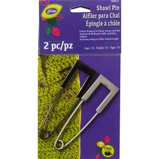 Metal Square Head Shawl Pin-Gun Metal & Nickel