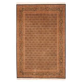 Herat Oriental Indo Hand-knotted Tabriz Ivory/ Black Wool Rug (6' x 9')