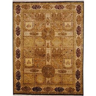 Herat Oriental Indo Hand-knotted Tabriz Beige/ Gold Wool Rug (5'8 x 7'6)
