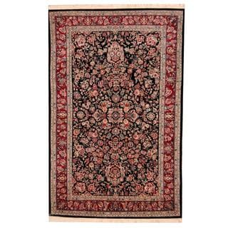 Herat Oriental Indo Hand-knotted Tabriz Navy/ Red Wool and Silk Rug (6' x 9'2)