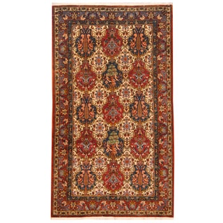 Herat Oriental Indo Hand-knotted Balouchi Ivory/ Red Wool Rug (5' x 9')