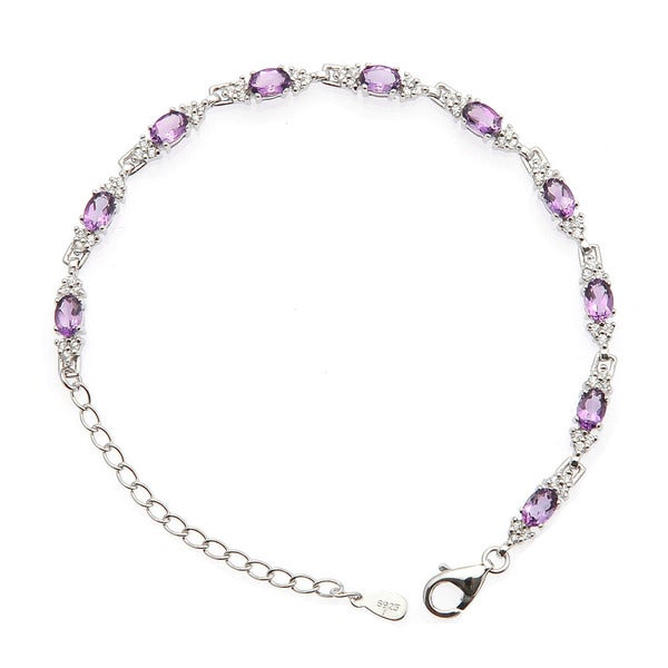 De Buman Sterling Silver Natural Amethyst, Sky Blue Topaz, Garnet with White Topaz Gemstone Bracelet
