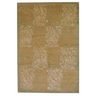 Herat Oriental Indo Hand-knotted Vegetable Dye Beige/ Green Wool Rug (6' x 9')