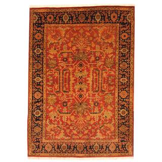 Herat Oriental Indo Hand-knotted Farahan Red/ Navy Wool Rug (5'8 x 8')