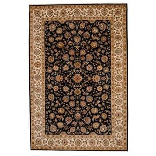 Herat Oriental Indo Hand-knotted Tabriz Black/ Ivory Wool and Silk Rug (6' x 9')