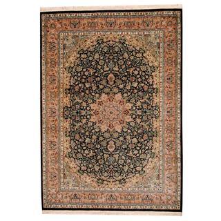 Herat Oriental Indo Hand-knotted Kashmar Black/ Green Wool Rug (6'2 x 8'8)