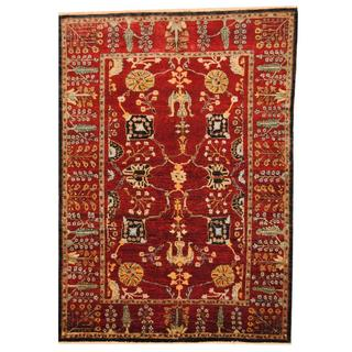 Herat Oriental Afghan Hand-knotted Vegetable Dye Red/ Navy Wool Rug (6'4 x 8'9)