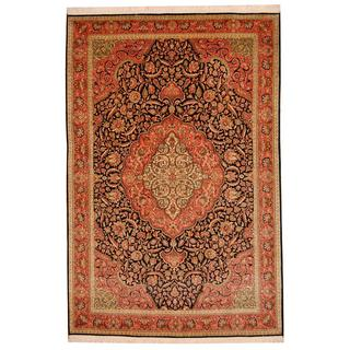 Herat Oriental Indo Hand-knotted Kashmar Rose/ Navy Wool Rug (6' x 9')