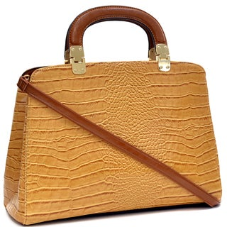 Dasein Croco Embossed Briefcase with Removable Shoulder Strap