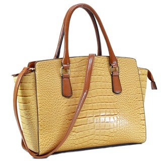 Dasein Croc-embossed Winged Satchel
