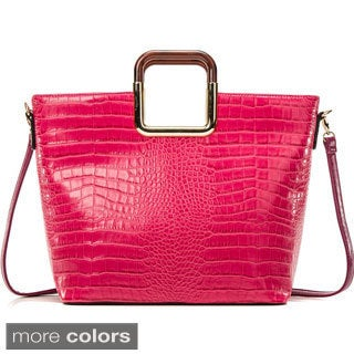 Dasein Croc Textured Square Handle Tote