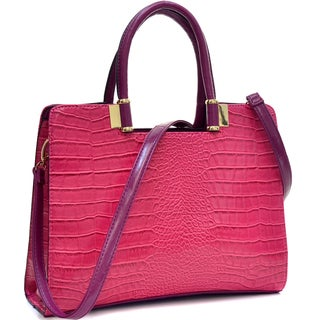 Dasein Croc-textured Briefcase with Removable Shoulder Strap