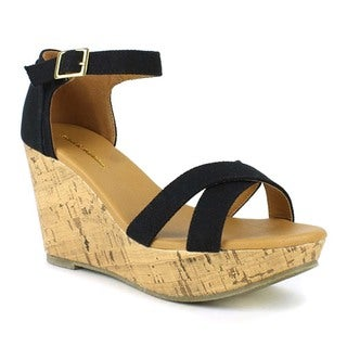 Mark and Maddux Women's 'Palo-05' Black Low Wedge Sandals