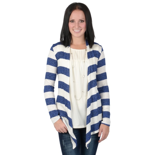 Hailey Jeans Co. Junior's Striped Long Sleeve Open Front Cardigan