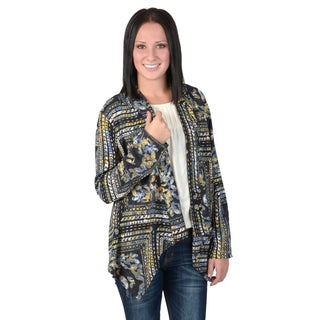 Hailey Jeans Co. Junior's Printed Open Front Silky Cardigan