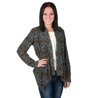 Hailey Jeans Co. Junior's Silky Printed Open Front Cardigan