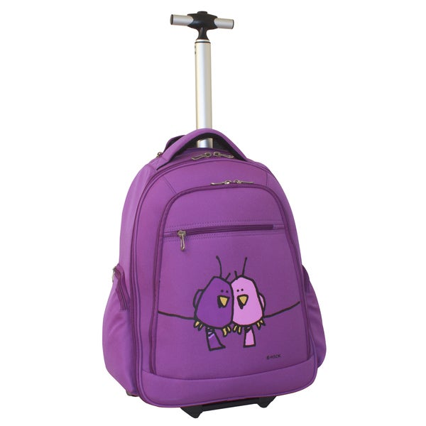 Ed Heck Purple Big Love Birds 20-inch Rolling Backpack