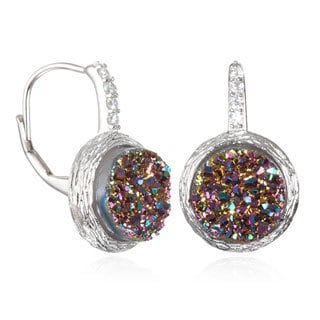 Rhodium-plated Sterling Silver Cubic Zirconia Druzy Leverback Earrings