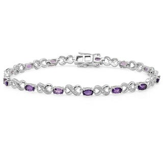 Sterling Silver Oval-cut Amethyst and Round-cut White Diamond Infinity Bracelet
