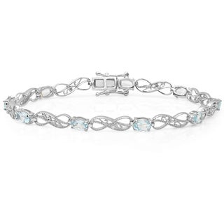 Sterling Silver Oval-cut Blue Topaz and Round-cut White Diamond Infinity Bracelet