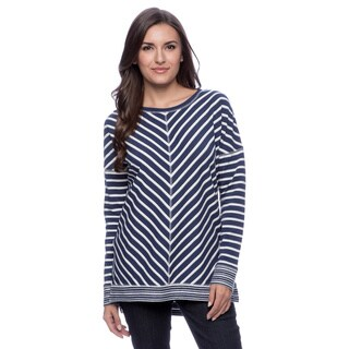Cable & Gauge Women's Navy and Ivory Wedge Long-sleeve Top