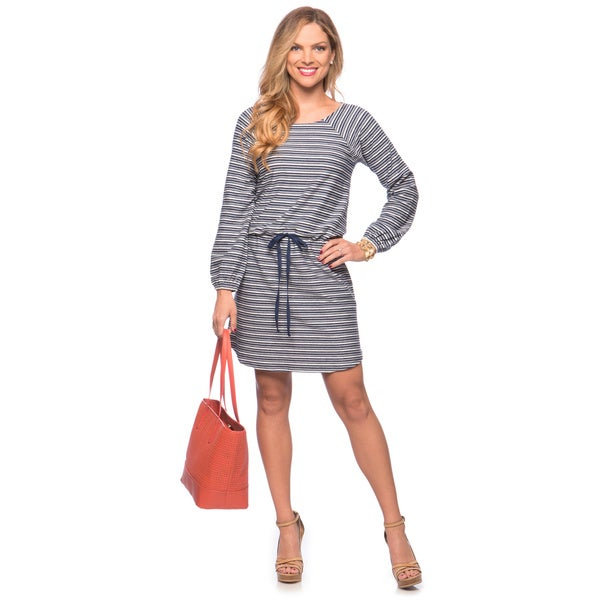 Cable & Gauge Women's Navy and Ivory Striped Drawstring Dress