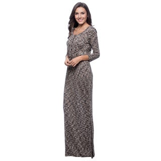 Spense Women's Black and Tan Printed Maxi Dress