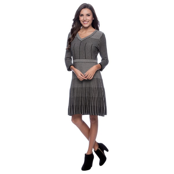 Spense Women's Black and Ivory Pattern Sweater Dress