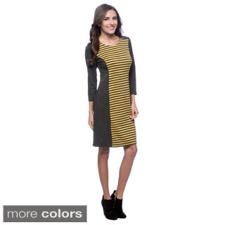Spense Women's Long Sleeve Stripe Inset Dress
