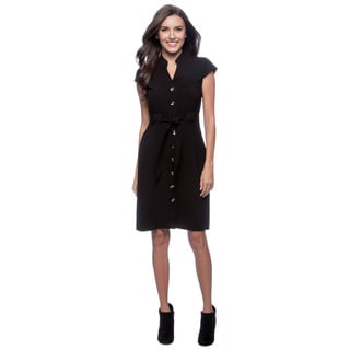 Spense Women's Black Button-front Dress