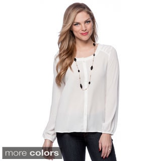 Spense Long Sleeve Button Front Pleated Back Blouse