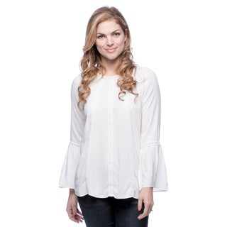 Spense Round Neck Long Sleeve Peasant Blouse with Crochet