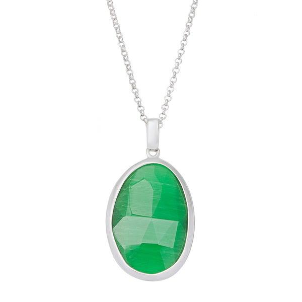 La Preciosa Sterling Silver Grass Green Cats Eye Oval Pendant