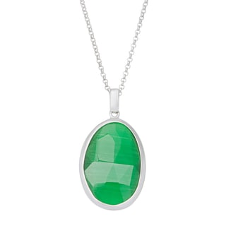 La Preciosa Sterling Silver Grass Green Cats Eye Oval Pendant