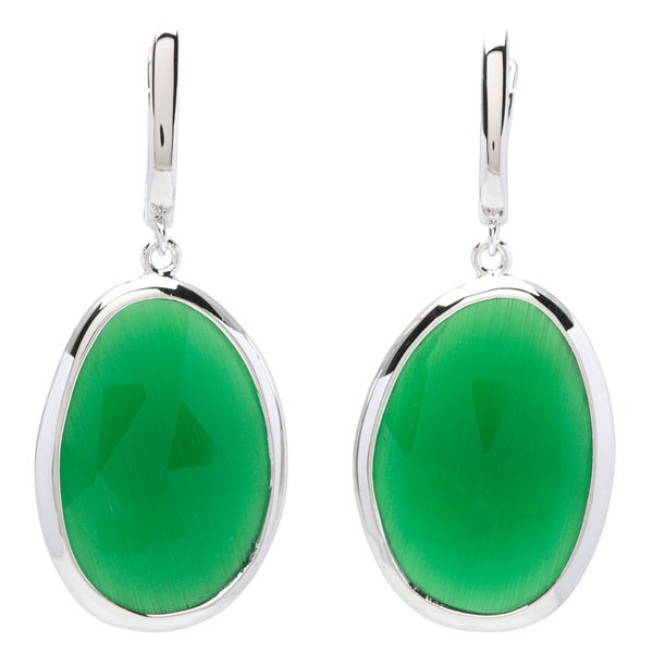 La Preciosa Sterling Silver Grass Green Cats Eye Oval Earrings