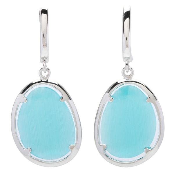 La Preciosa Sterling Silver Blue Cats Eye Oval Earrings