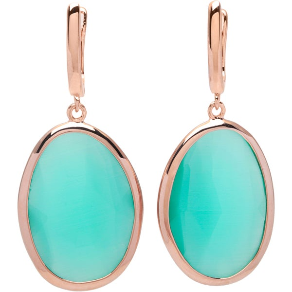 La Preciosa Sterling Silver Rose-plated Light Green Cats Eye Oval Earrings