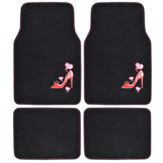 BDK Love Heel Design Car Floor Mats 4 Piece Set (Universal Fit)
