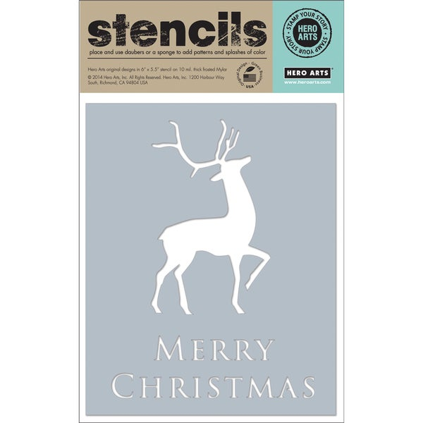 "Hero Arts Stencils 6.25""X5.25""-Merry Christmas Reindeer"