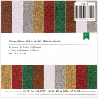 "American Crafts Glitter Paper Pad 6""X6"" 24/Pkg-Christmas"