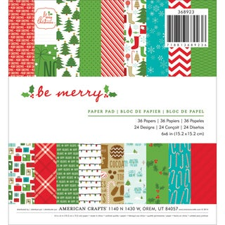 """American Crafts Paper Pad 6""""X6"""" 36/Pkg-Be Merry"""