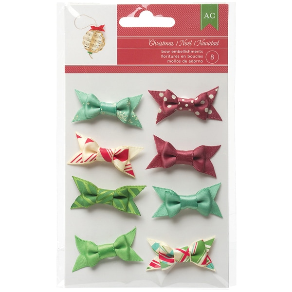 Christmas Fabric Bows 8/Pkg