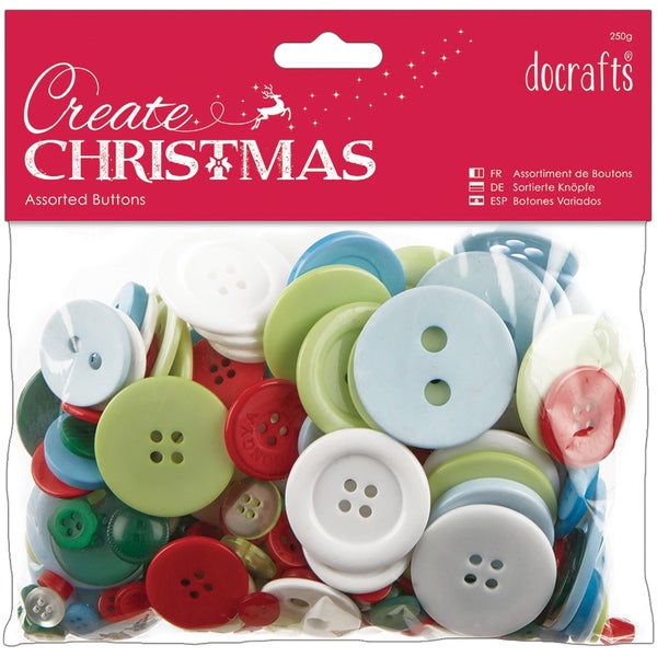 Papermania Create Christmas Assorted Buttons 250g-Traditional Christmas