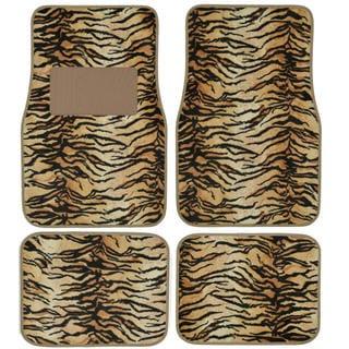 BDK Safari Tiger Print 4 -piece Universal Carpet Floor Mats Set with Rubber Backing System