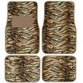 BDK Safari Tiger Print 4-piece Universal Car Carpet Floor Mats with Rubber Backing System