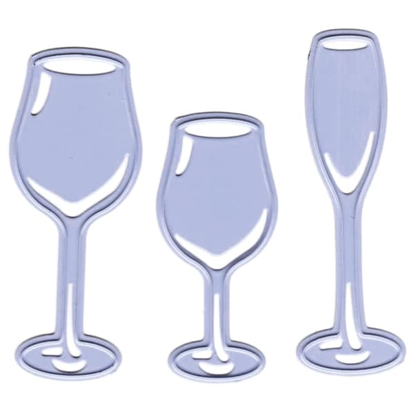 "Joy! Crafts Cut & Emboss Dies-3 Glasses, .75""X1.75"" To .75""X2"""