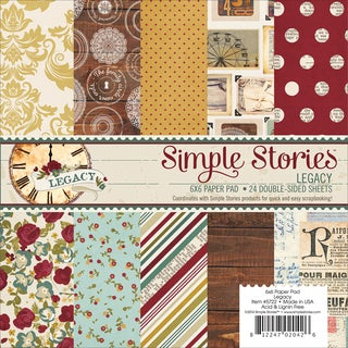 "Simple Stories Paper Pad 6""X6"" 24/Pkg-Legacy"