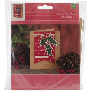 Christmas Card Kit-Makes 6, Merry Christmas W/Holly