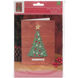 Christmas Card Kit-Makes 6, Merry & Bright W/Tree