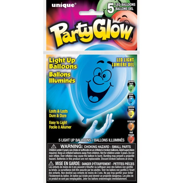 Light Up Balloons 5/Pkg-Party Faces